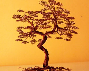 Wire tree with leaves made from copper