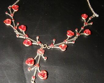 Vintage red rose necklace Flower Necklace