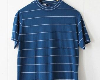 Vintage 60's Blue Striped Tee Shirt Size L high neck