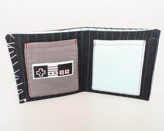 Nintendo NES Controller Wallet, video games fans wallet, Handmade & Funky wallet made it from 100% pants reclaimed materials, Geek wallet