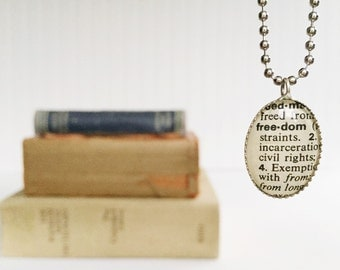 dictionary {freedom} vintage necklace authentic