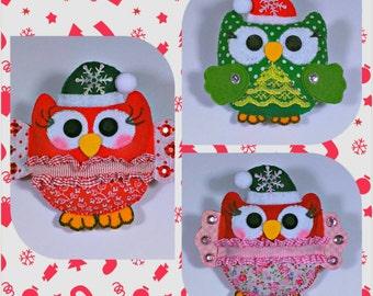 Owl Decoration, Christmas Tree Owl Ornament, Handmade Cotton Decoration, Xmas Home and Holiday Decor, Christmas Tree Decoration