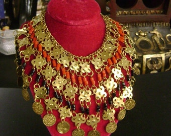 Egyptian Gold Plated Brass Coin Necklace Made in Egypt