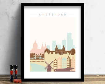 Amsterdam Skyline, Print, Watercolor Print, Amsterdam Wall Art, Watercolor Art, City Poster, Cityscape, Home Decor, Gift PRINT