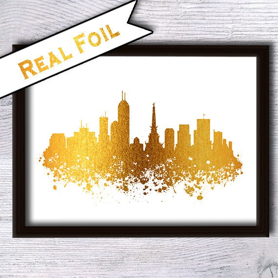Indianapolis Gold Foil Poster Indianapolis Cityscape Art Print