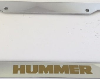 Big Truck - Hummer -  Chrome with Gold Automotive License Plate Frame