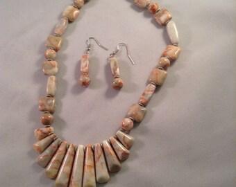 Red Line Marble Stick Pendant Necklace Set