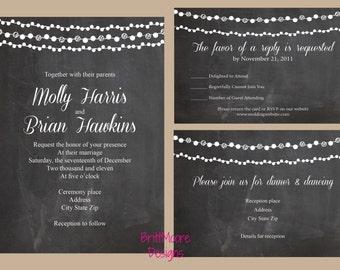 Printable Wedding Invitation | Chalkboard with Lights | Digital Only File