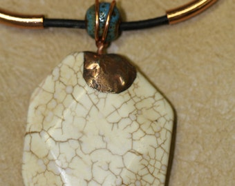 White magnesite pendant/necklace