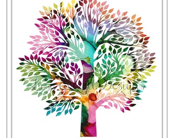 8 x 10 Colorful Abstract Watercolor Tree Nature Fall Leaves Kids Room Nursery Office Art Print Home Decor Wall Art Instant Digital Download