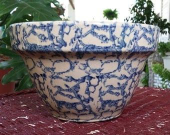 Roseville Ohio Robinson Ransbottom Pottery Co RRP #7 Bowl Blue Spongeware Mint USA