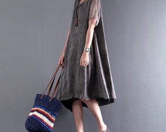 Women sundress tencel linen clothing loose short-sleeved dress irregular shirt dress