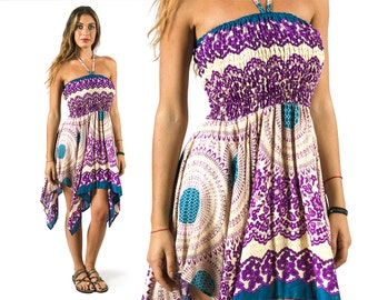 Convertible Print Fairy Dress / Skirt - Purple - 3135U