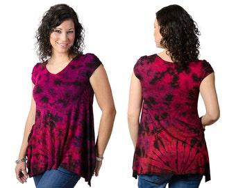 Tie Dye V-neck Blouse - Red Multi - 192R