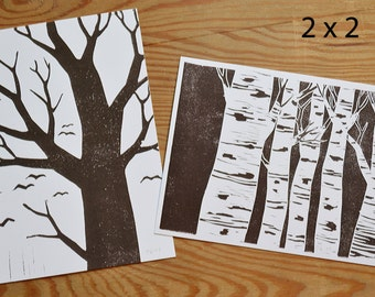 """Postcard set of 4 """"trees"""""""