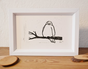 snowy owl · original linocut · 12 x 9 cm