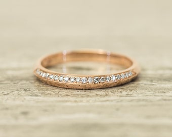 Diamond band Ring in 14K/18K solid gold/Platinum, The Knife Edge Band with diamond pave on one side
