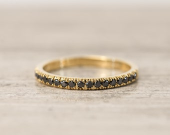 Black Diamond Band ring in14K solid gold, stacking ring, yellow gold black diamond ring