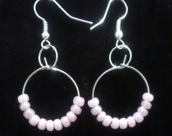 Small Pink hoop earrings
