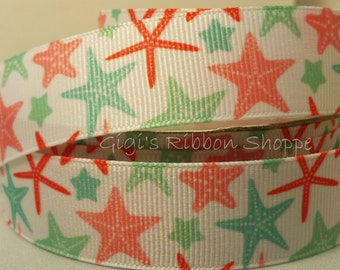 5 YD Preppy Starfish Grosgrain Ribbon - Hair bows, scrap booking, dog collars, gift wrap and more.