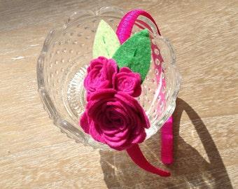 Headband with felt roses