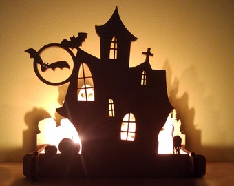 Wooden Candle Holder Halloween House Decor. Fireplace Decor, Halloween Candlestick, Halloween Decor, Happy Halloween Signs