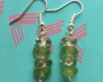 Four Bead Green Earrings