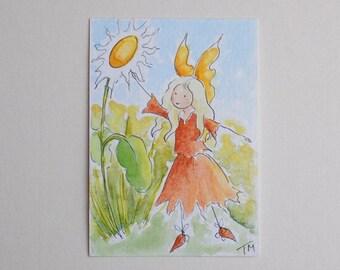 Daisy ACEO Original Watercolour Fairy