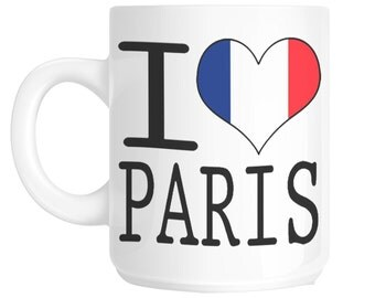 I love heart Paris franch French flag gift mug shan181