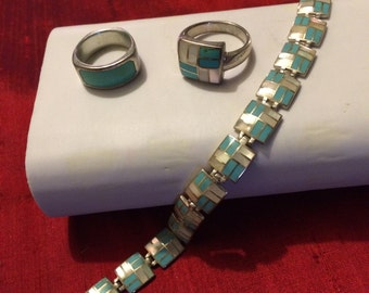 925 Silver Jewelry Set, Turquoise, Mother of pearl, Bracelet, 2 rings