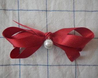 Red Hair Bow, Hair Bow, Girls Hair Bow, Women Bow, Hair Bow with Pearl