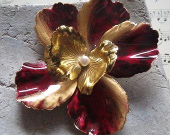 Vintage - Brosche-brooch, handmade handmade-Vintageschmuck - eyecatcher, blossom, big flower, from the 60s, unique filigree,