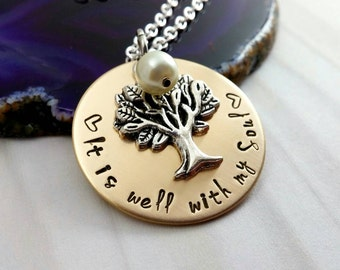 It is well With my Soul~ Memorial Necklace~ Positive Quote~ Recovery Gift~ Religious~  Funeral Gift