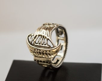 Unique Silver Ship Spoon Ring. Handmade in UK. Adjustable Size. Fine Jewellery. Precious Metal. Jewelry. Gift for Wife or Girlfriend.