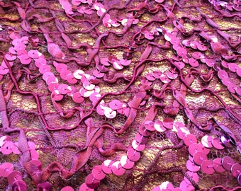 Sequin Embellished Lace Fabric Burgandy 1 Yard