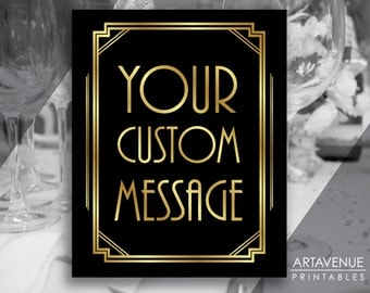 Art Deco Custom Message Printable Sign Vertical, Gatsby Wedding, Roaring Twenties Party, Art Deco Party Supplies - Black and Gold - ADBG1