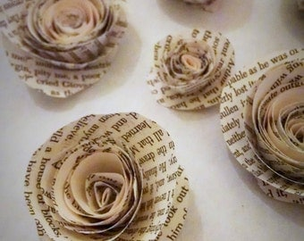 Book Page Roses - Set of 12 - Paper Roses - Paper Flowers - Centerpiece - Wedding Decor