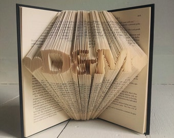 Paper Anniversary Gift for Him - Folded Book Art Featuring Custom Initials and Hearts