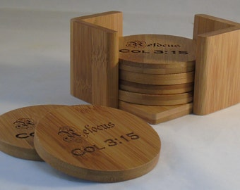 Personalized Bamboo Coaster Set of 6 with Holder