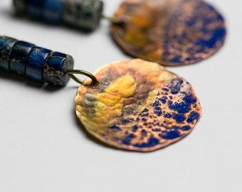 Blue copper rustic dangle earrings Raw earrings Hammered copper Artisan jewelry
