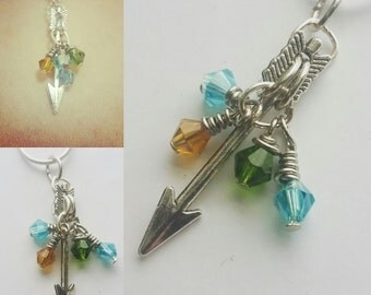 Birthstone Arrow Mother's Necklace (you pick birthstones)
