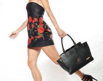 LAFatima Black Leather Bag/Office/Oversize Tote Bag/Leather Bag/Large Leather Tote Bag/Made in Italy/Leather Work Bag/Handmade Leather Bag