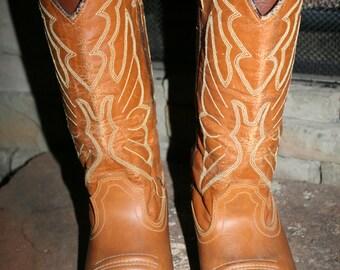 Vtg Ramrod Cowboy Boots Tan Sz 8