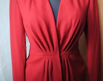 Vintage woolen red women's jacket from 60's made in USA