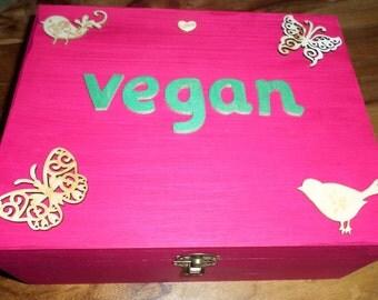 Large wooden box with 'vegan' wording