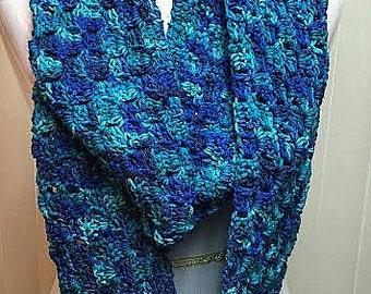 Blue Crochet Scarf, Blue Infinity Scarf, Blue Knit Scarf, Blue Infinity Loop Scarf, Blue Winter Scarf, Blue Circle Scarf, Blue Scarf