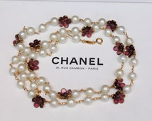 Chanel vintage Necklace Bead with pink Gripoix flower