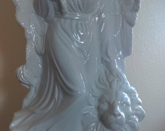 "Vintage Graceful White Porcelain Angel With Lion large at 17"". Stunningly perfect!"