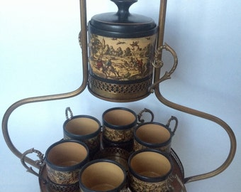 8 pc porcelain metal ESPRESSO SET with 6 cups1 carrier and 1 bowl made by KBNY Italy 1569/77 Clearance
