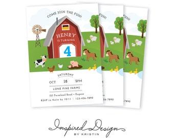Farm Birthday Party Invitation | 5x7 digital PDF | Printable Invitation | Digital Invitation